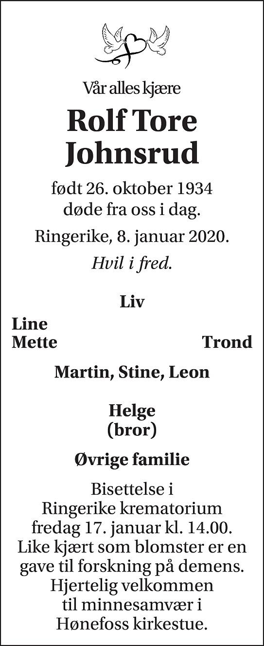 Rolf Tore Johnsrud Dødsannonse