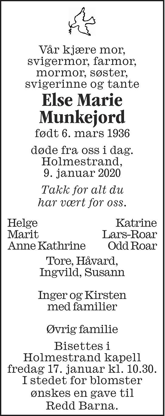 Else Marie Munkejord Dødsannonse
