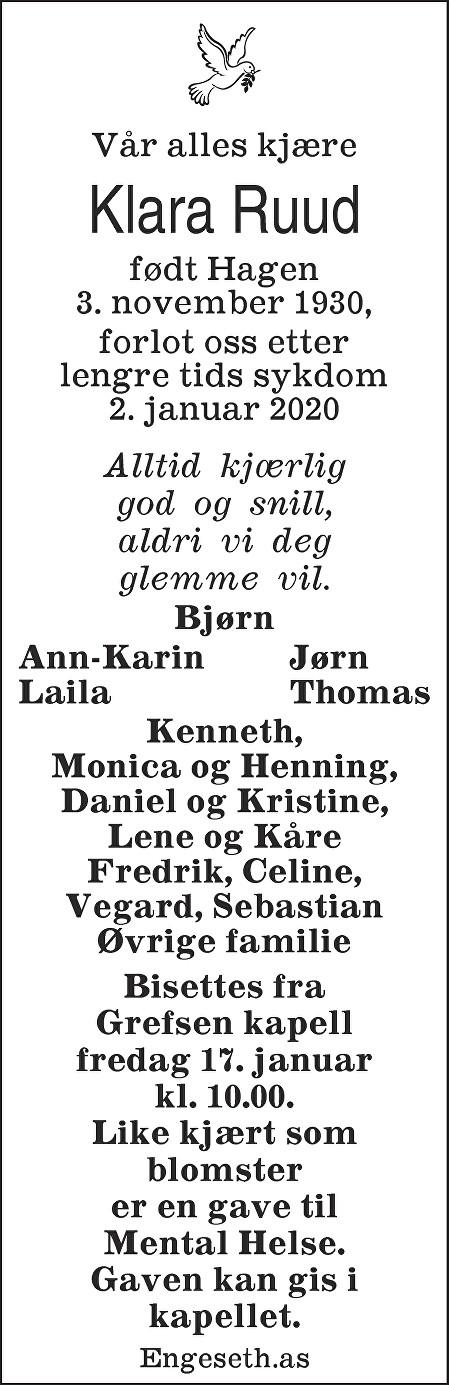 Klara Ruud Dødsannonse