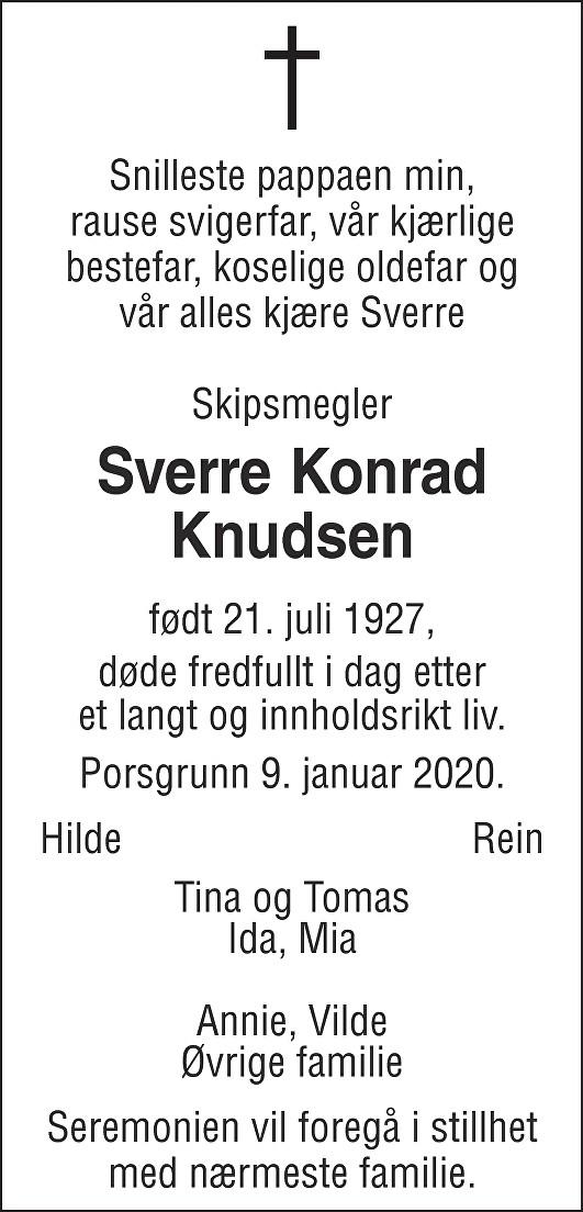 Sverre Konrad Knudsen Dødsannonse