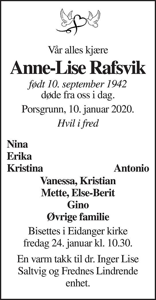Anne-Lise Rafsvik Dødsannonse