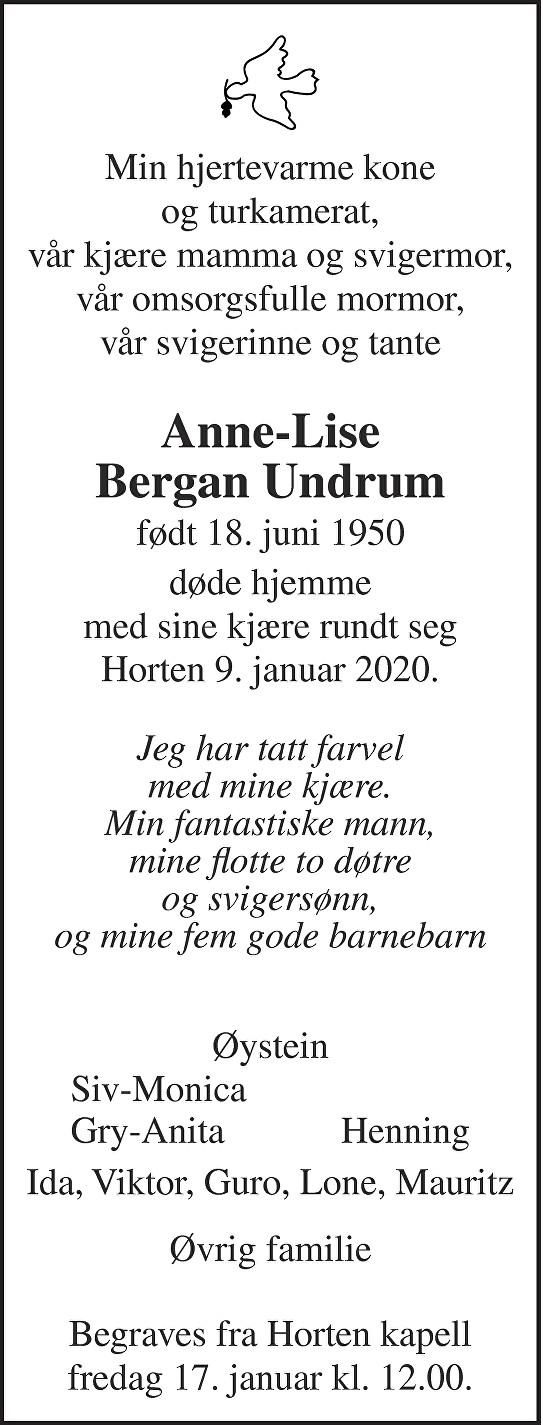 Anne-Lise Bergan Undrum Dødsannonse