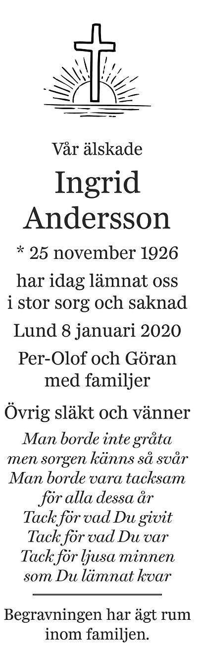 Ingrid Andersson Death notice
