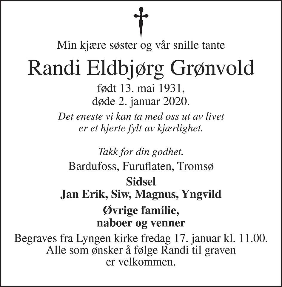 Randi Eldbjørg Grønvold Dødsannonse