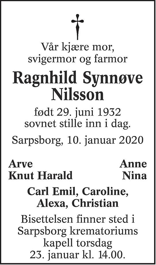 Ragnhild Synnøve Nilsson Dødsannonse
