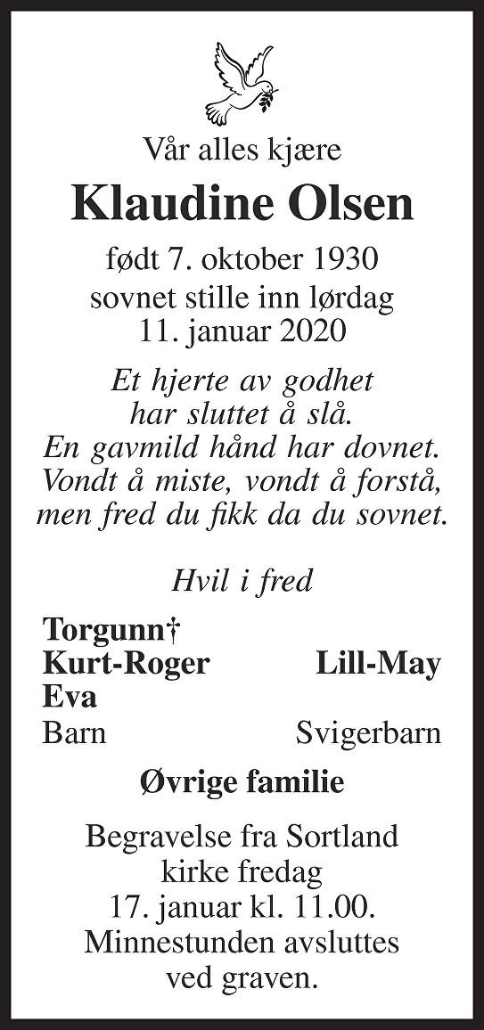 Klaudine Olsen Dødsannonse