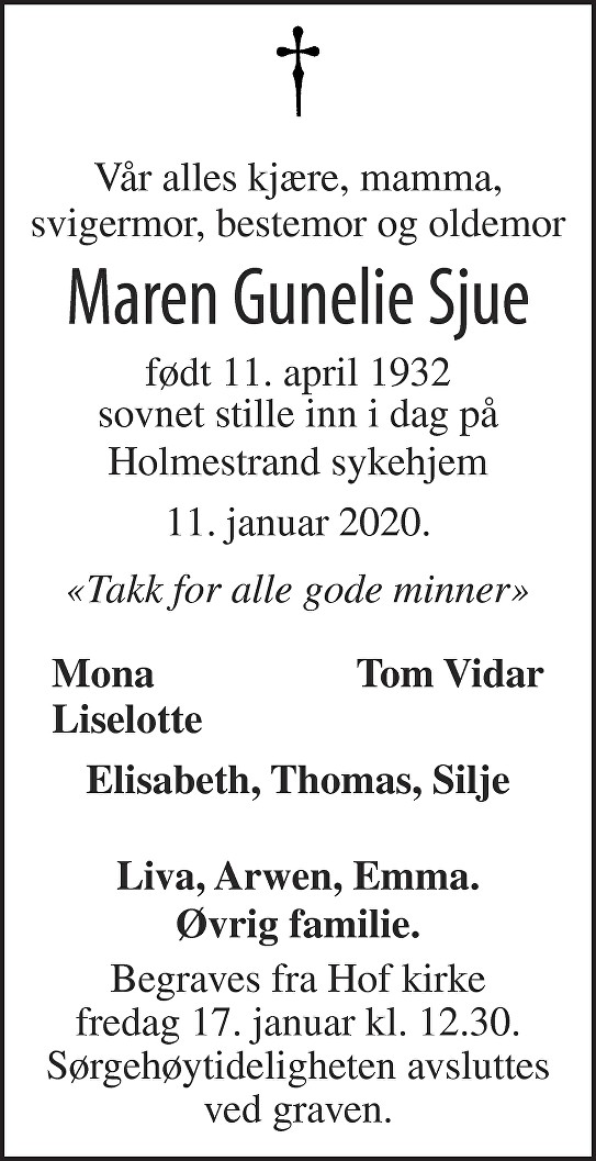 Maren Gunelie Sjue Dødsannonse