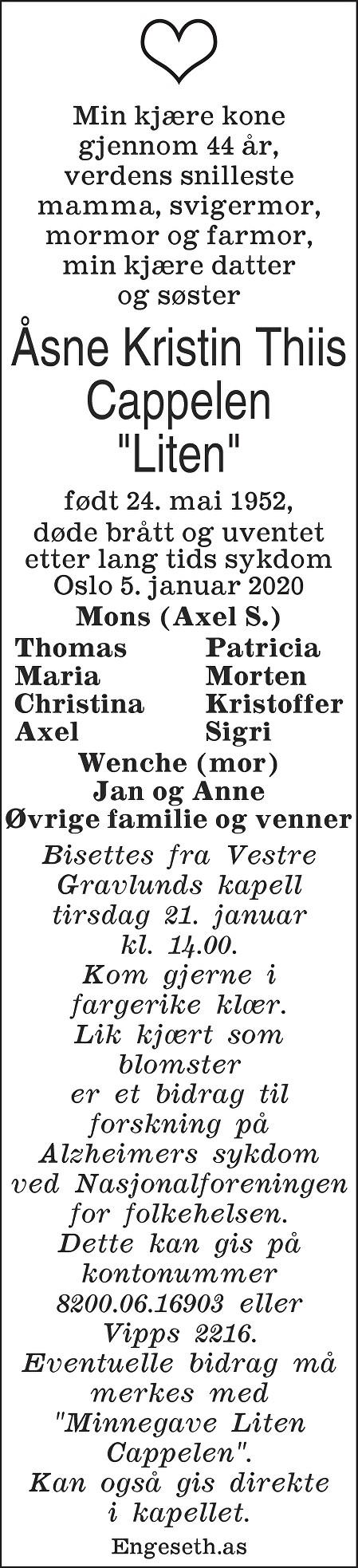 """Åsne Kristin Thiis Cappelen """"Liten"""" Dødsannonse"""