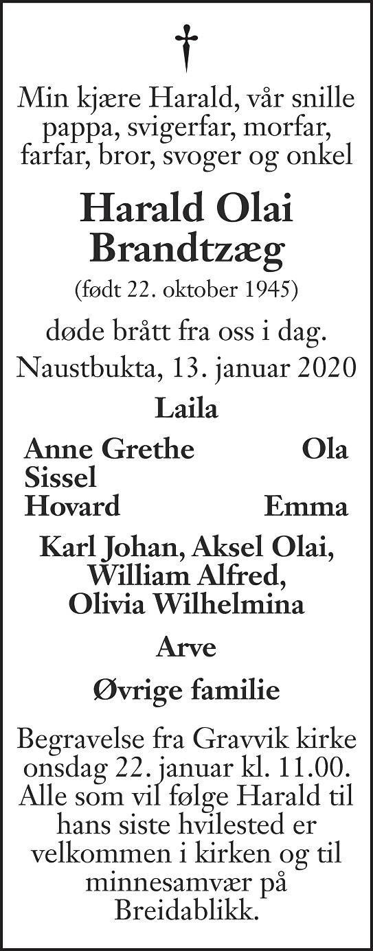 Harald Olai Brandtzæg Dødsannonse