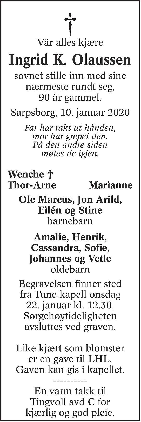 Ingrid Kaspara Olaussen Dødsannonse