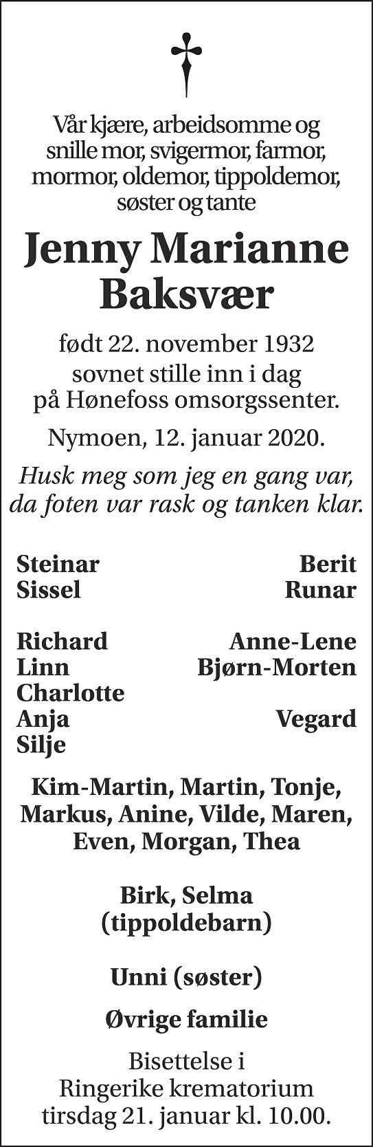 Jenny Marianne Baksvær Dødsannonse