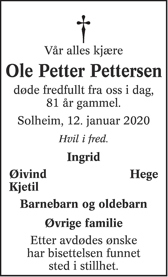 Ole Petter Pettersen Dødsannonse