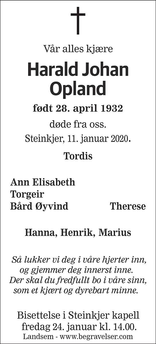 Harald Johan Opland Dødsannonse