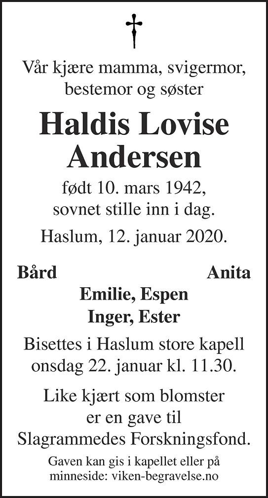 Haldis Lovise Andersen Dødsannonse