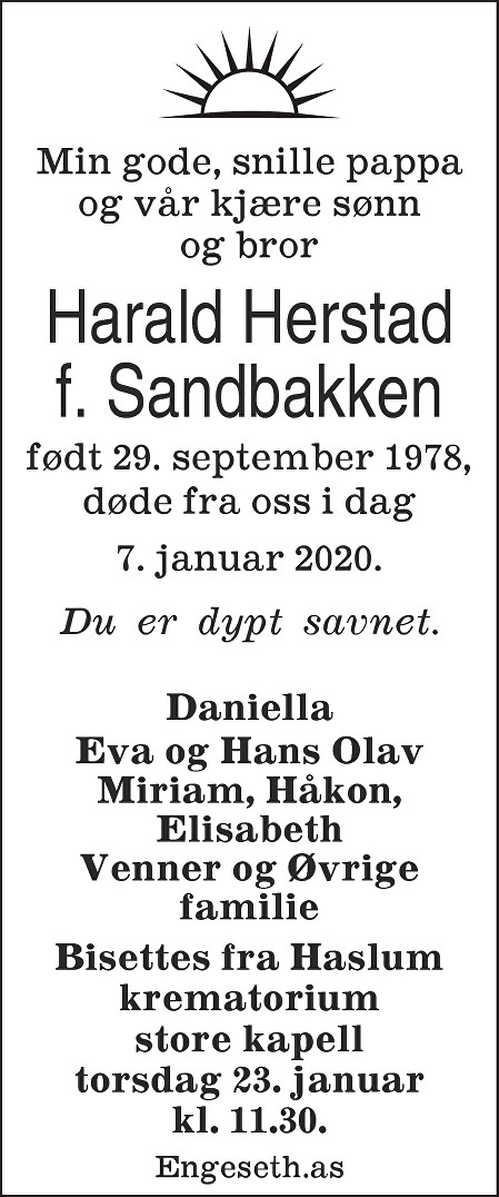 Harald Herstad Dødsannonse