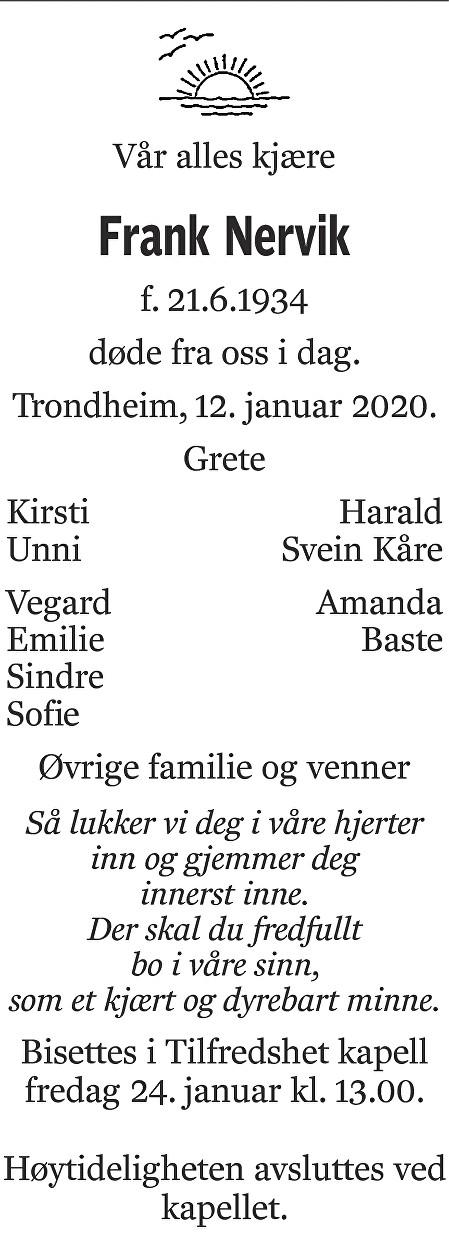 Frank Nervik Dødsannonse
