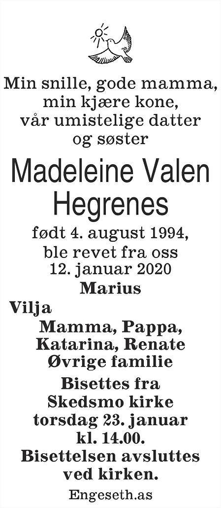 Madeleine Valen Hegrenes Dødsannonse