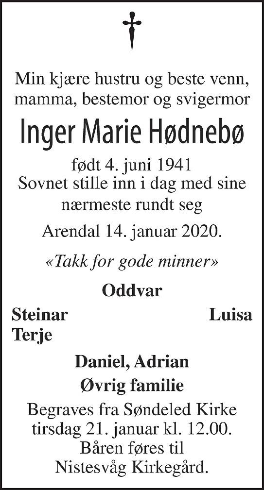 Inger Marie Hødnebø Dødsannonse
