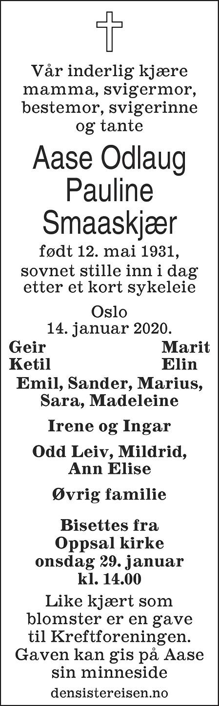Aase Odlaug Pauline Smaaskjær Dødsannonse