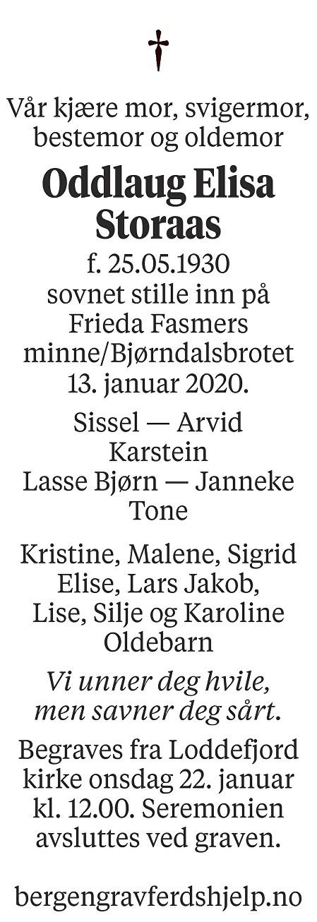 Oddlaug Elisa Storaas Dødsannonse