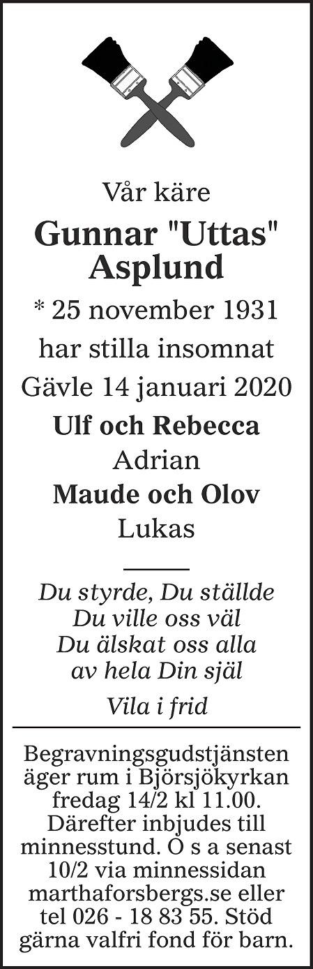 Gunnar Asplund Death notice