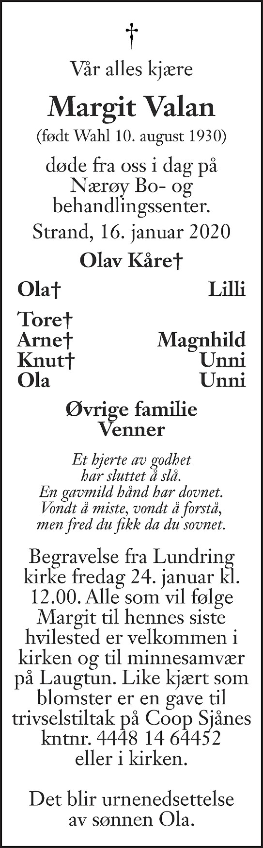 Margit Valan Dødsannonse