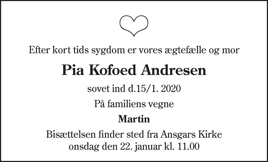 Pia Kofoed  Andresen Death notice