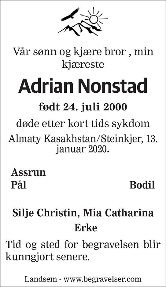 Adrian Nonstad Dødsannonse
