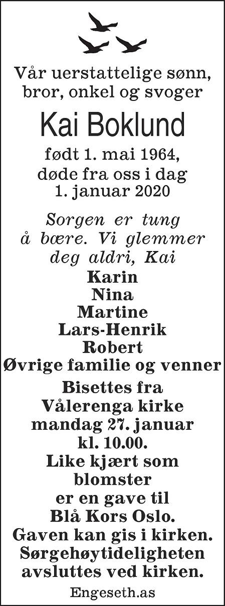 Kai Boklund Dødsannonse