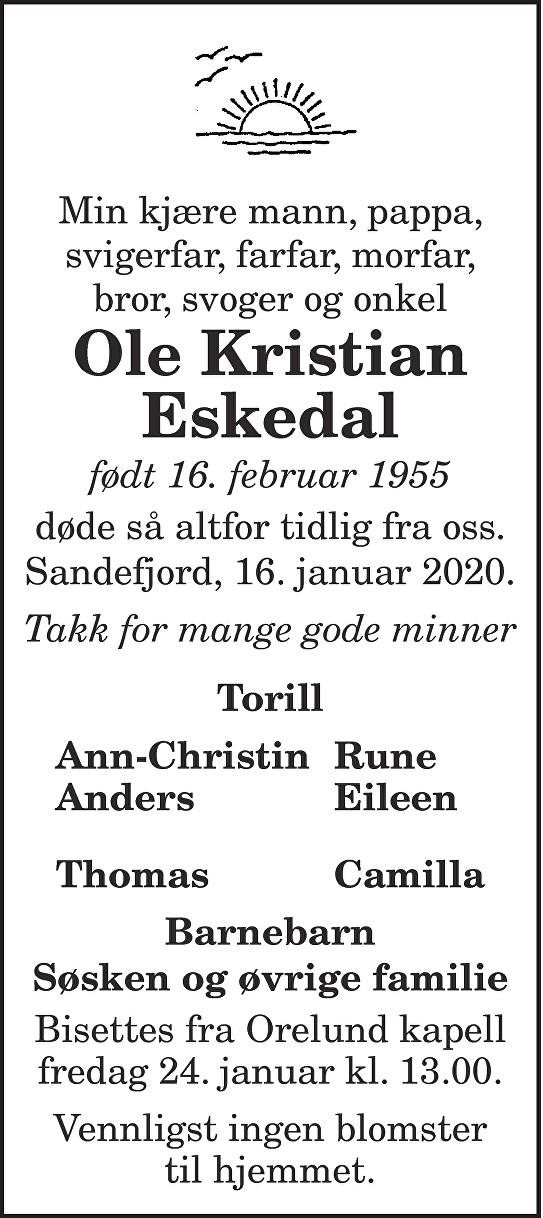 Ole Kristian Eskedal Dødsannonse