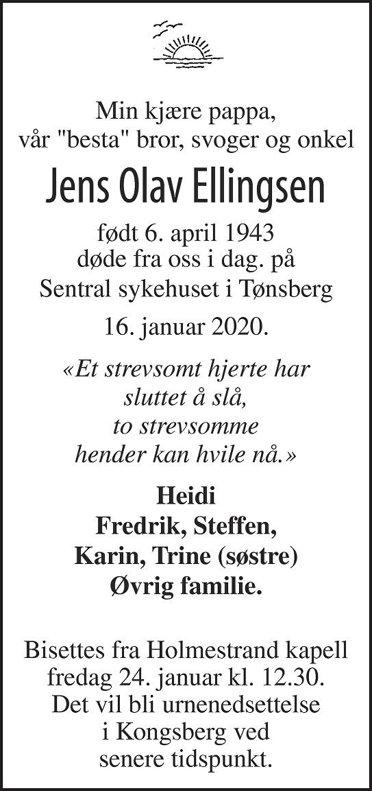 Jens Olav  Ellingsen Dødsannonse