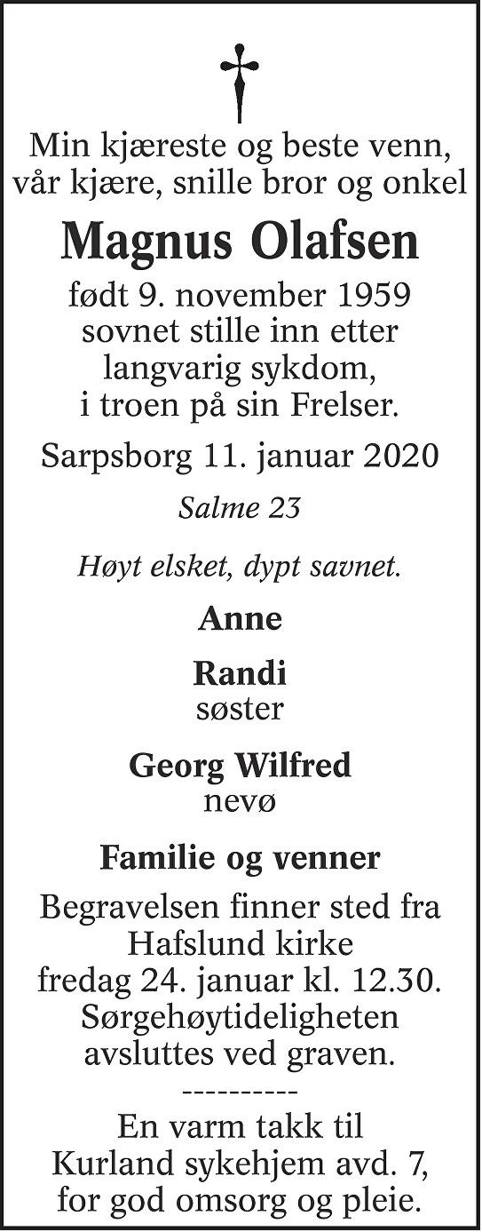 Magnus Olafsen Dødsannonse