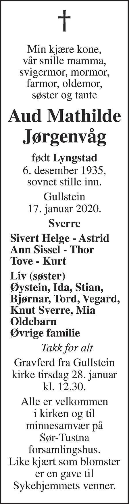 Aud Mathilde Jørgenvåg Dødsannonse