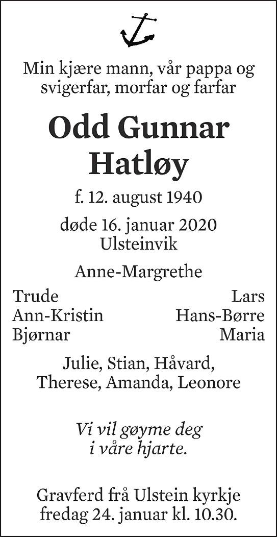 Odd Gunnar Hatløy Dødsannonse