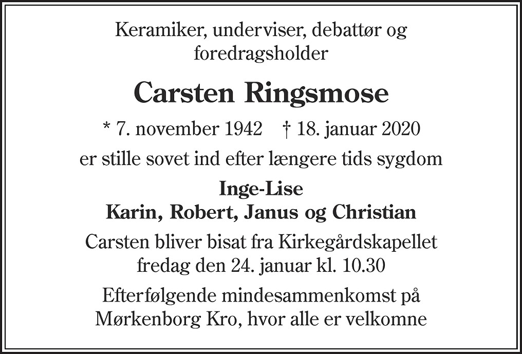 Carsten  Ringsmose Death notice