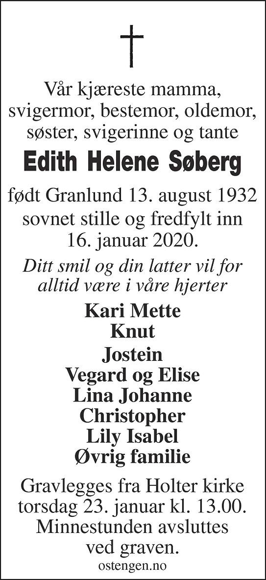 Edith Helene Søberg Dødsannonse