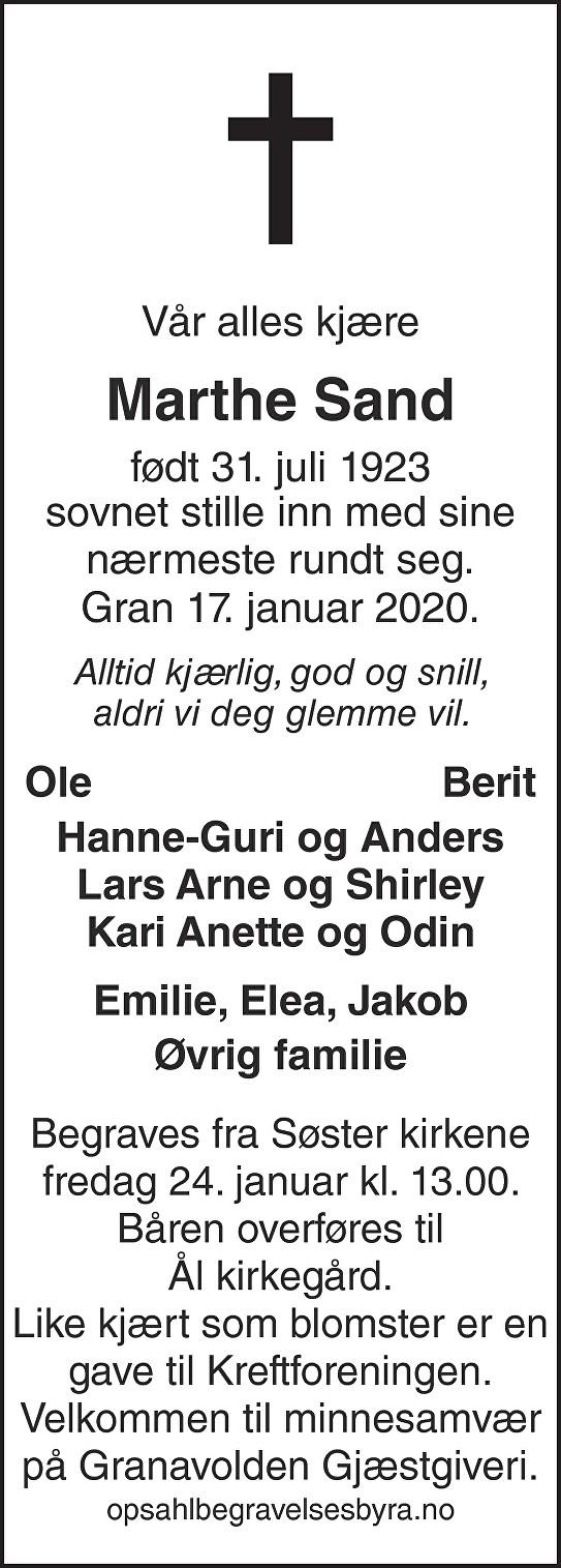 Marthe Sand Dødsannonse