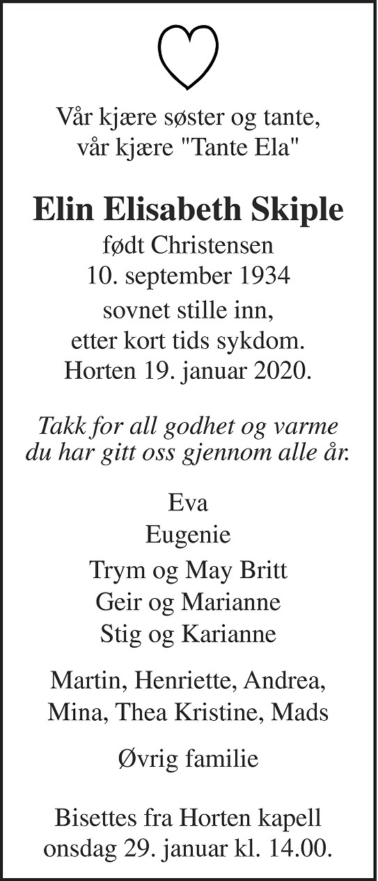 Elin Elisabeth Skiple Dødsannonse