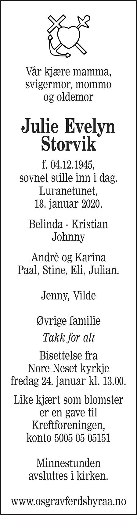 Julie Evelyn Storvik Dødsannonse