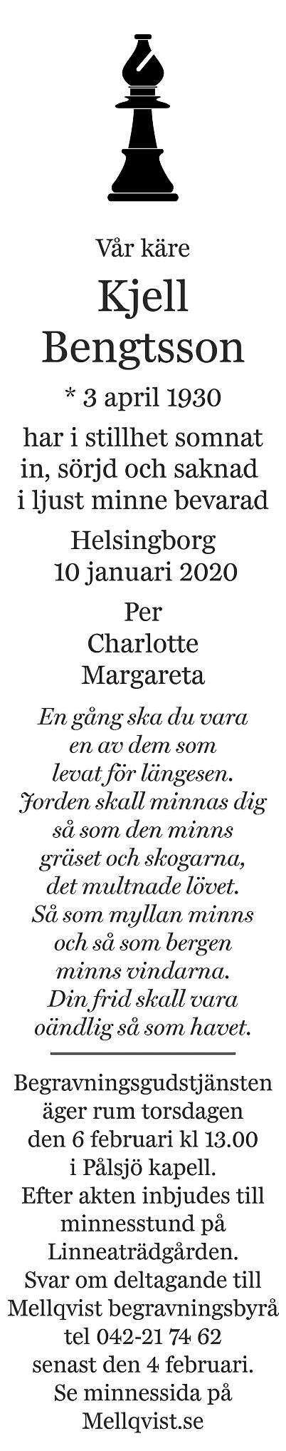 Kjell Bengtsson Death notice