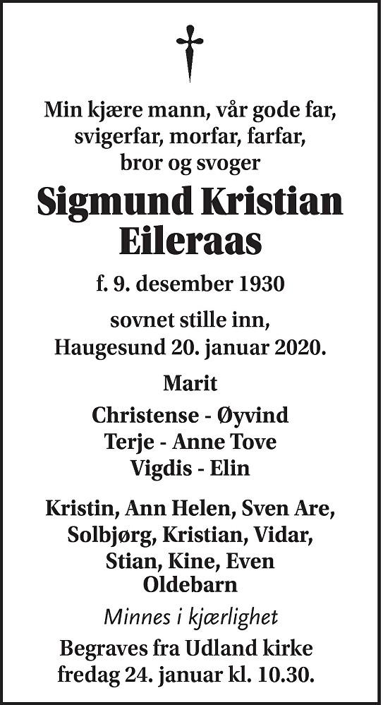 Sigmund Kristian Eileraas Dødsannonse