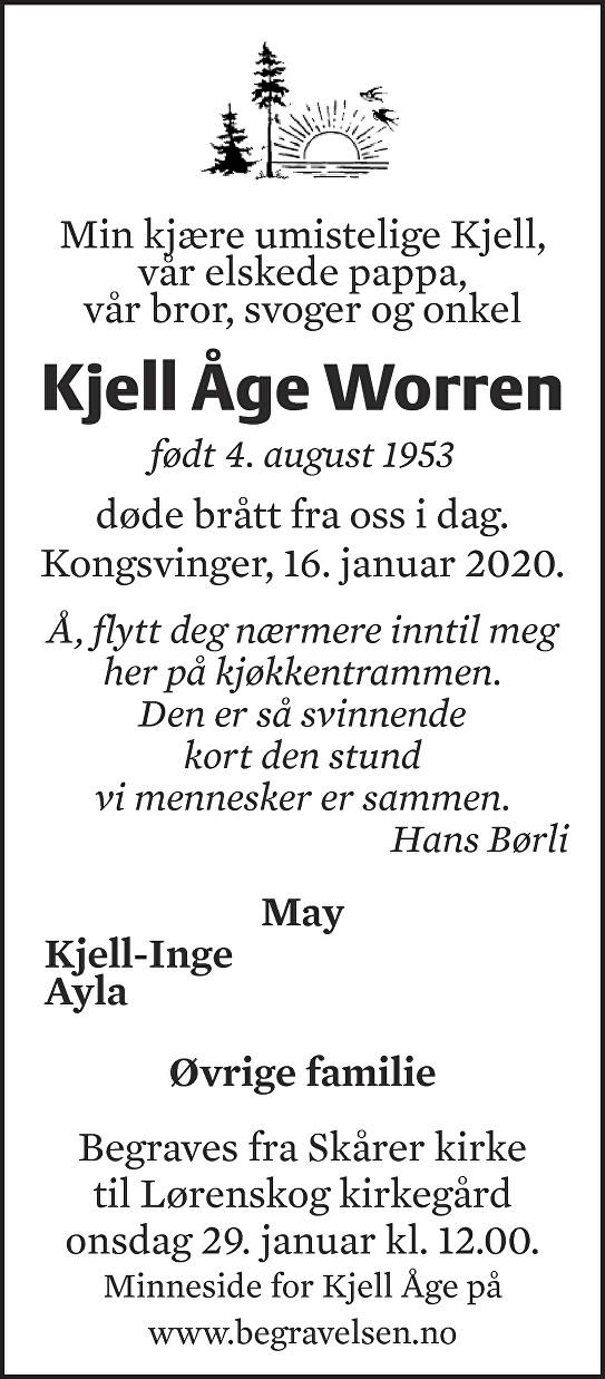 Kjell Åge Worren Dødsannonse