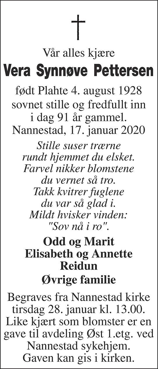 Vera Synnøve Pettersen Dødsannonse