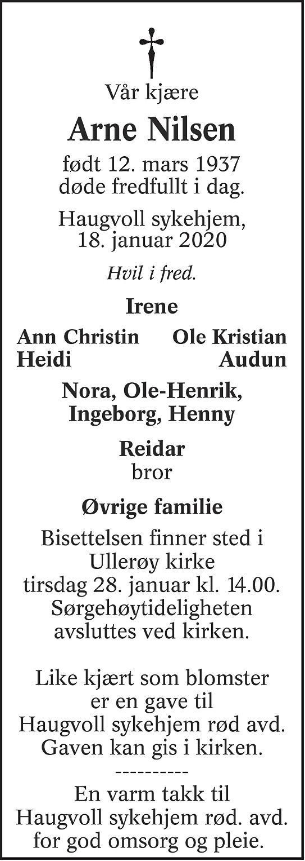 Arne Nilsen Dødsannonse