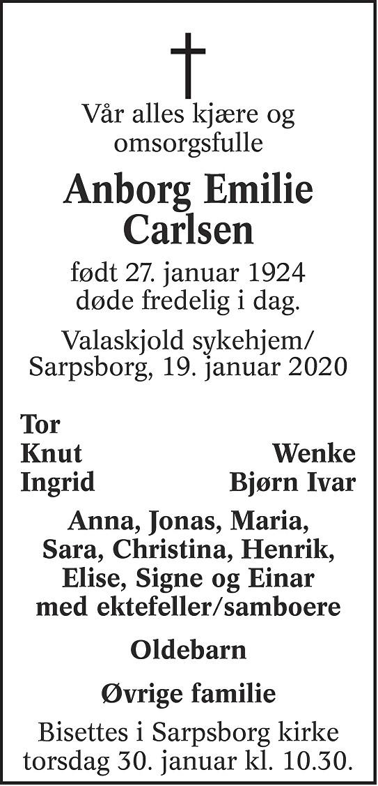 Anborg Emilie Carlsen Dødsannonse