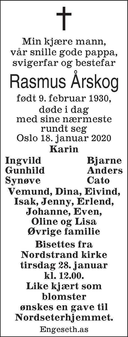Rasmus Årskog Dødsannonse