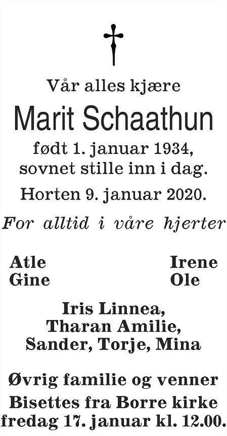 Marit Schaathun Dødsannonse
