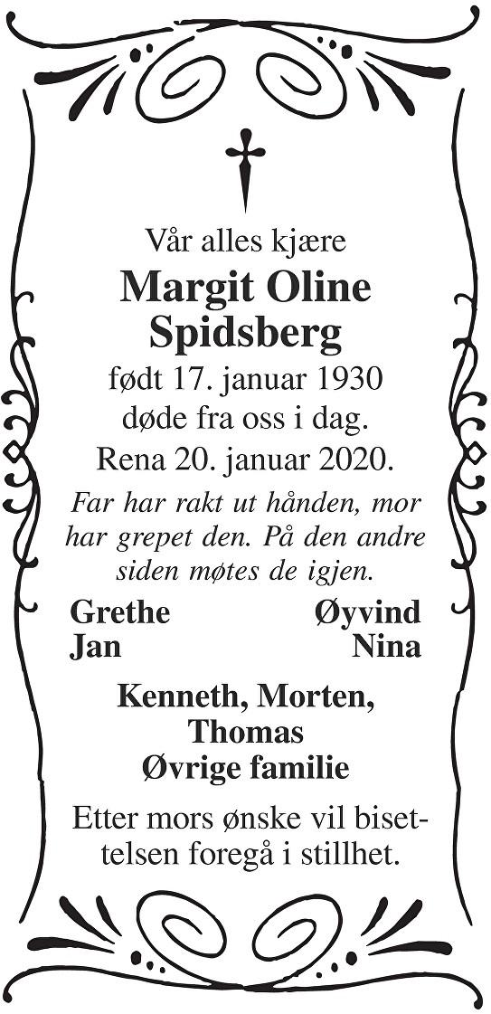 Margit Oline Spidsberg Dødsannonse