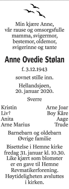 Anne Ovedie Stølan Dødsannonse