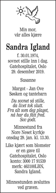 Sandra Igland Dødsannonse